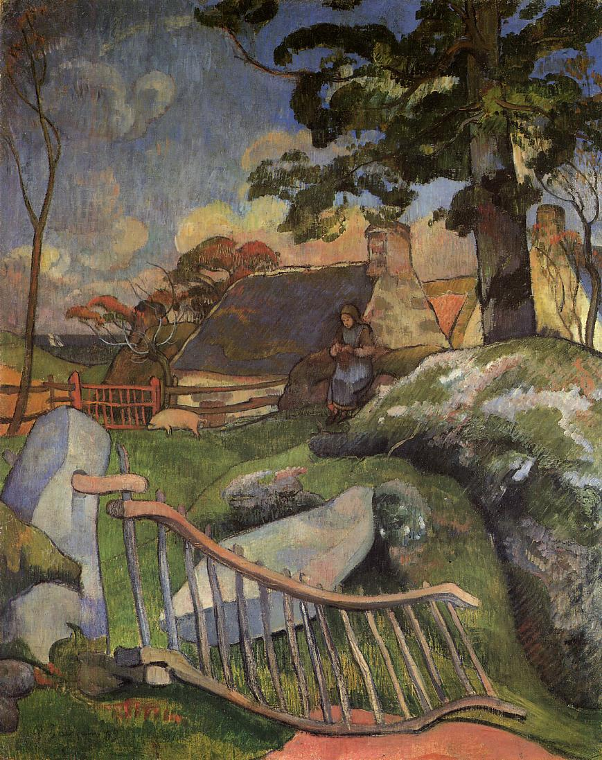 Paul Gauguin - The Wooden Gate. The Pig Keeper 1889