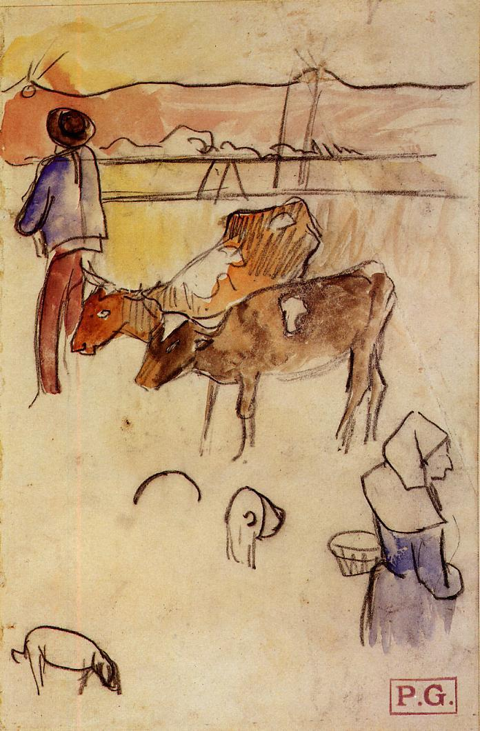 Paul Gauguin - Bretons and cows 1889