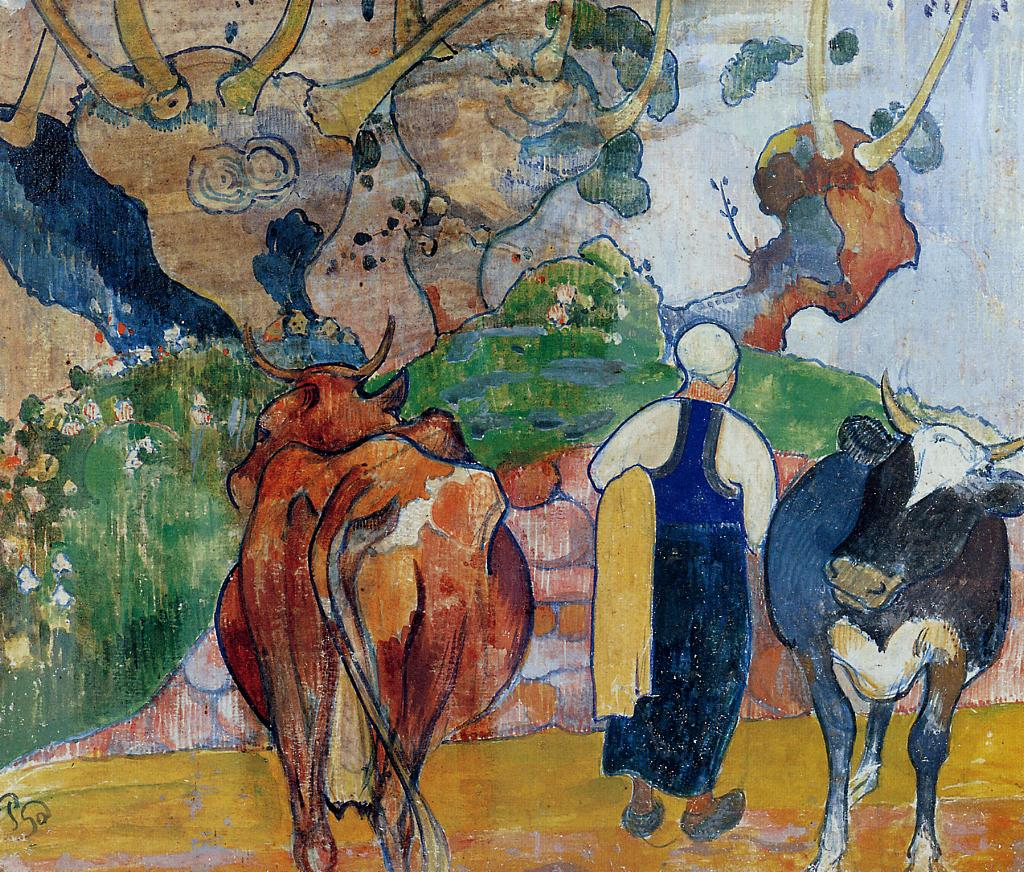 Paul Gauguin - Peasant Woman and Cows in a Landscape 1890