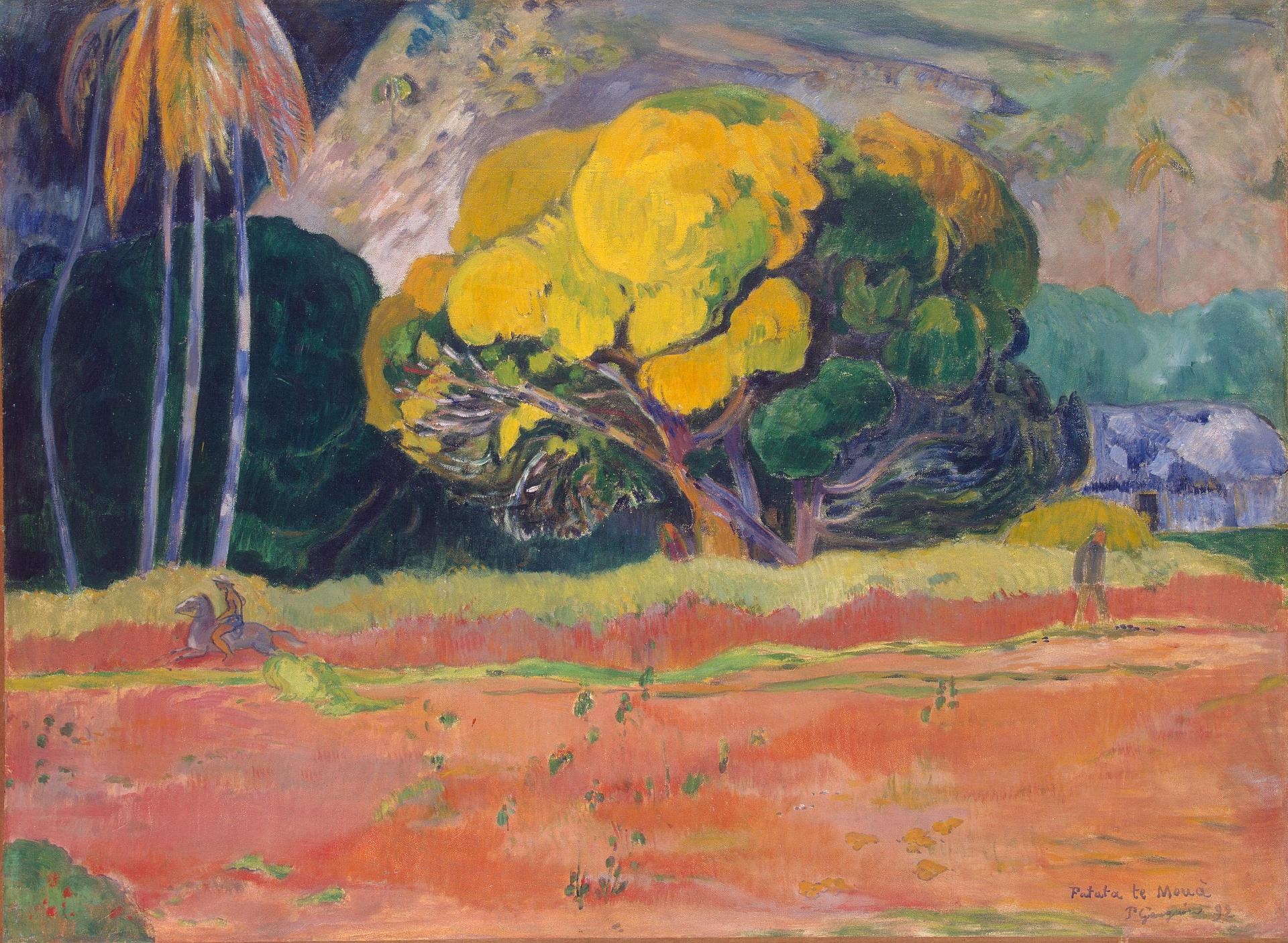 Paul Gauguin - At the Foot of the Mountain. Fatata Te Moua 1892