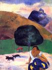 Paul Gauguin - Landscape with black pigs and a crouching Tahitian 1891