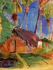 Paul Gauguin - Hut under the coconut palms 1894