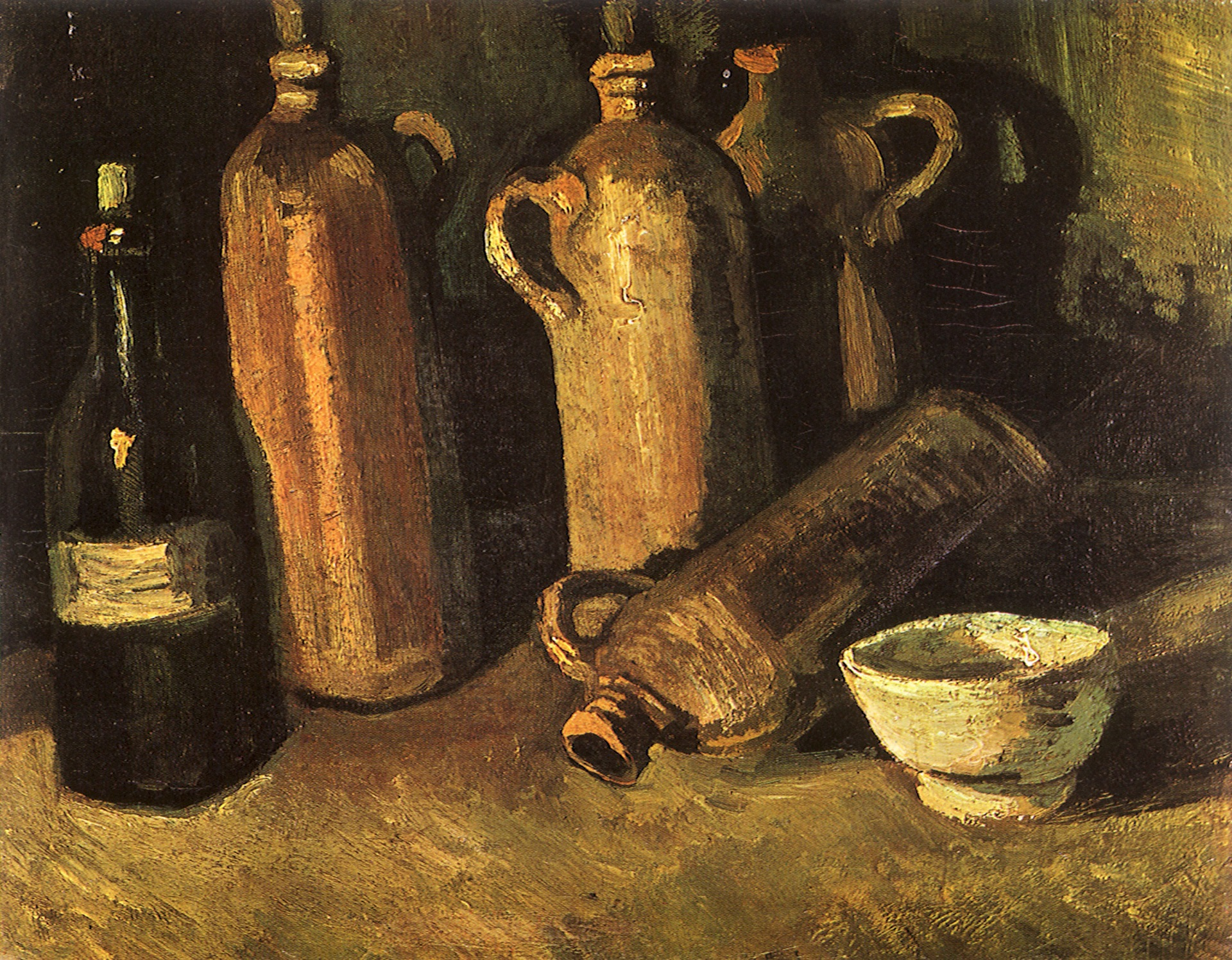 Still Life with Four Stone Bottles, Flask and White Cup 1884
