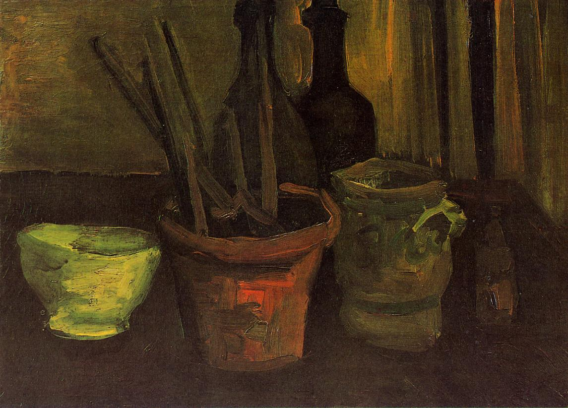 Still Life with Paintbrushes in a Pot 1884