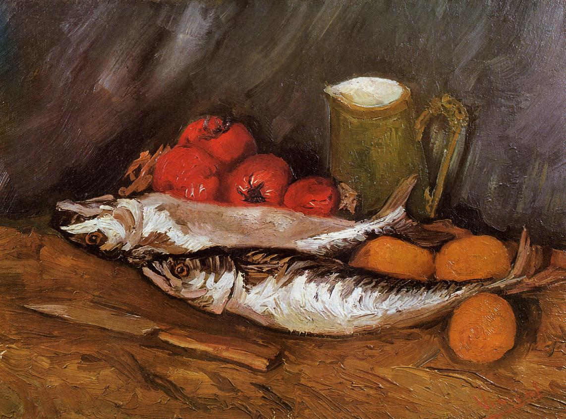 Still Life with Mackerels, Lemons and Tomatoes 1886