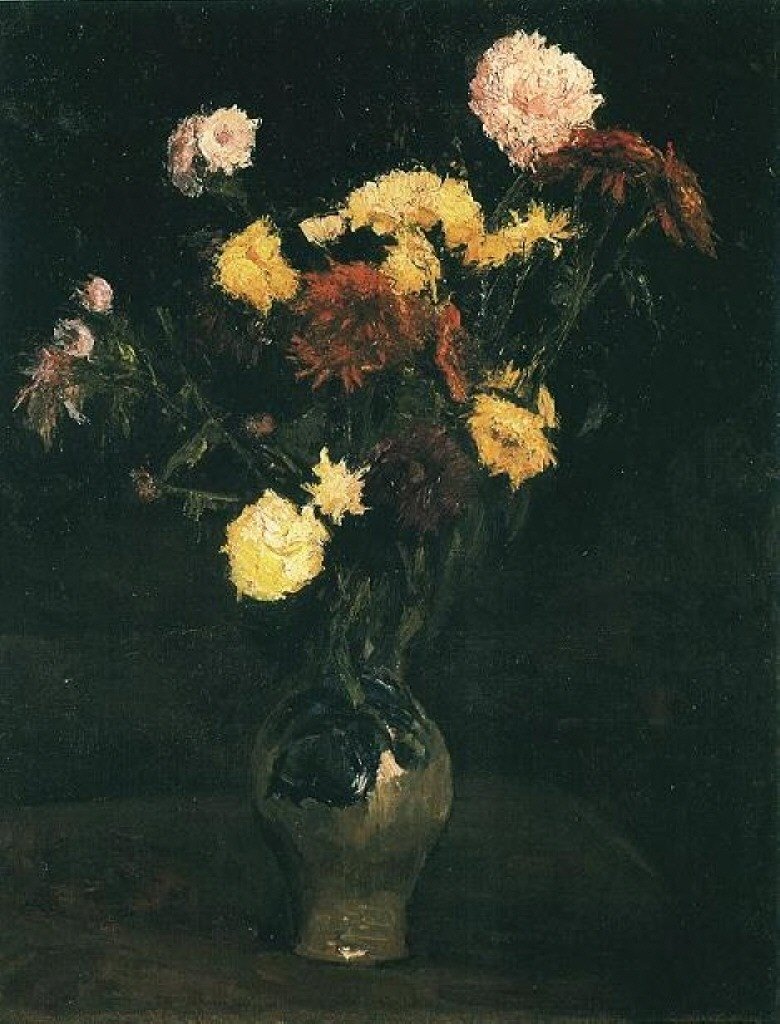 Vase with Carnations and Zinnias 1886