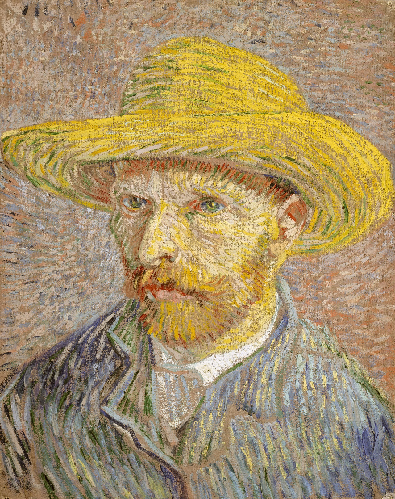 Self-Portrait with Straw Hat 1887-1888