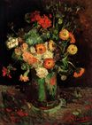 Vase with Zinnias and Geraniums 1886