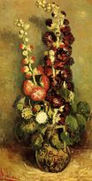 Vase with Hollyhocks 1886