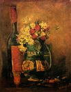 Vase with Carnations and Roses and a Bottle 1886