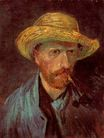 Self-Portrait with Straw Hat and Pipe 1887