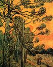 Pine Trees against a Red Sky with Setting Sun 1889