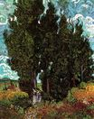 Cypresses with Two Female Figures 1889