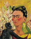 Frida Kahlo - Self Portrait with Monkey and Parrot 1942