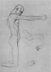 Kneeling Male Nude With Sprawled Out Arms, Male Torso 1902