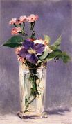 Pinks and Clematis in a Crystal Vase 1882