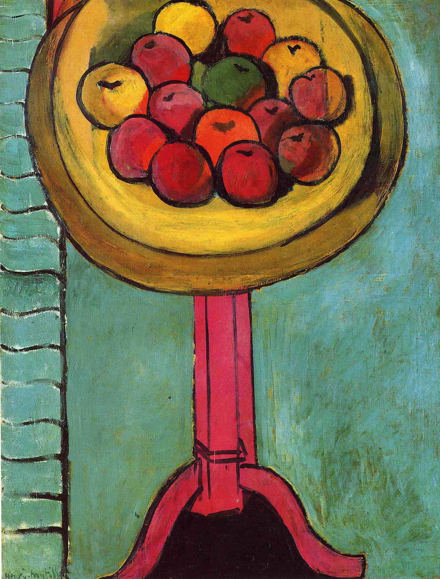 Apples on a Table, Green Background 1916