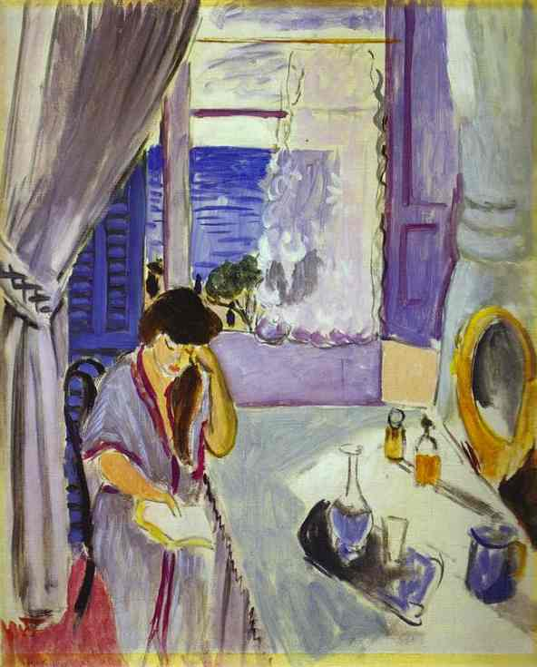 Woman Reading at a Dressing Table. Interieur, Nice 1919