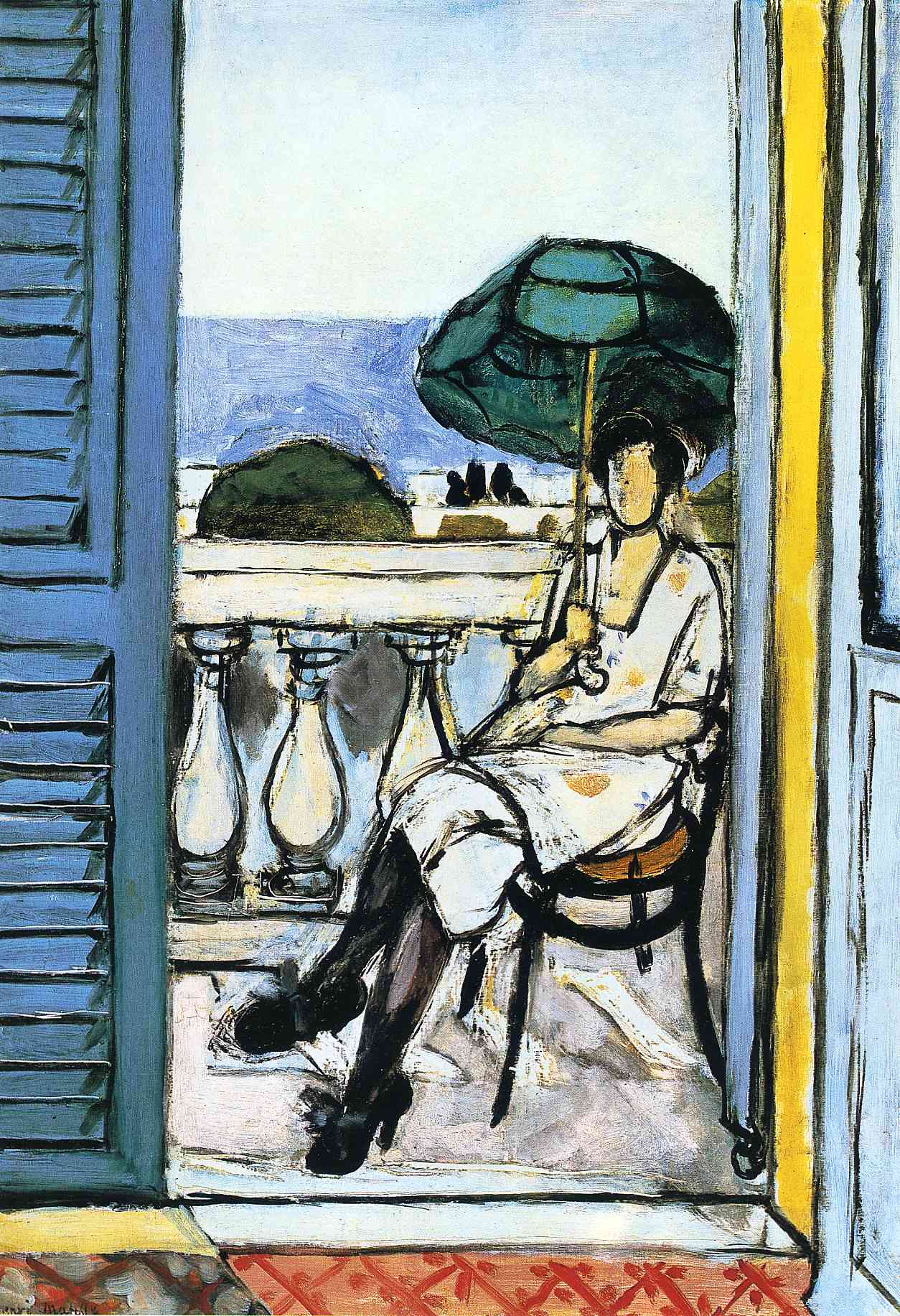 Woman with a Green Parasol on a Balcony 1919