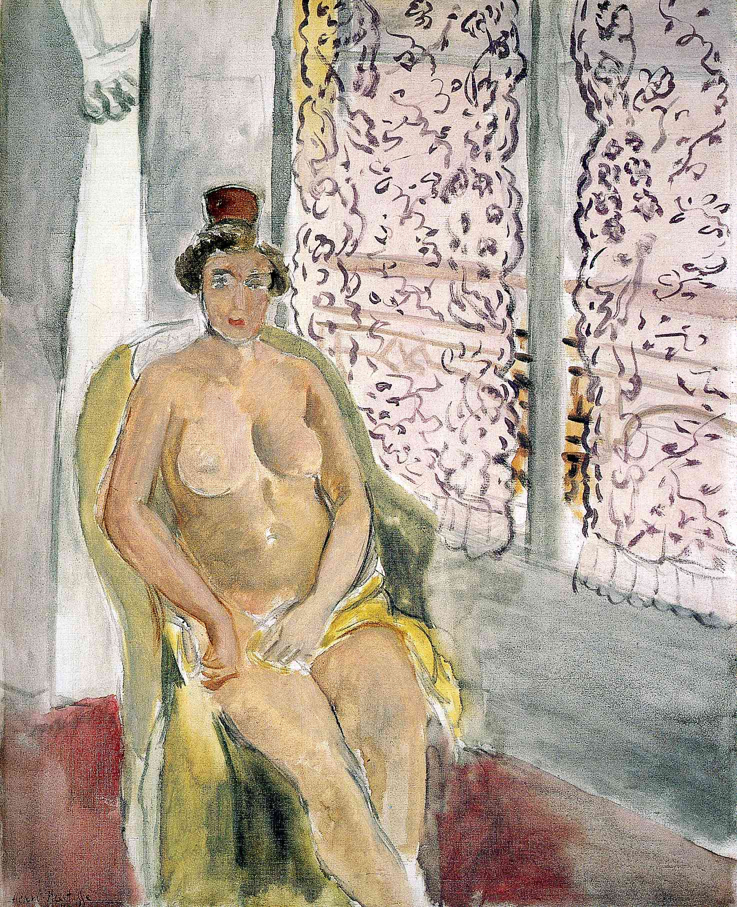 Nude with a Spanish Comb, Seated by a Curtained Window 1924