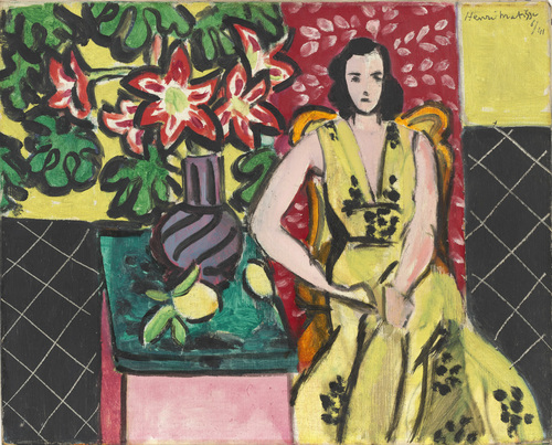 Seated Woman with a Vase of Amaryllis 1941