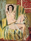 Odalisque Seated with Arms Raised, Green Striped Chair 1923