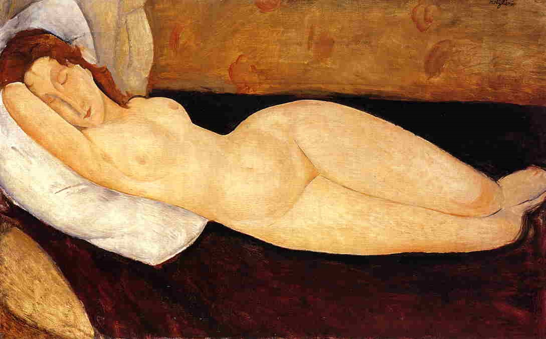 Amedeo Modigliani - Reclining Nude, Head Resting on Right Arm. Nude on a Couch 1915