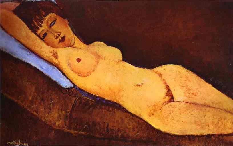 Amedeo Modigliani - Reclining nude with Blue Cushion 1917