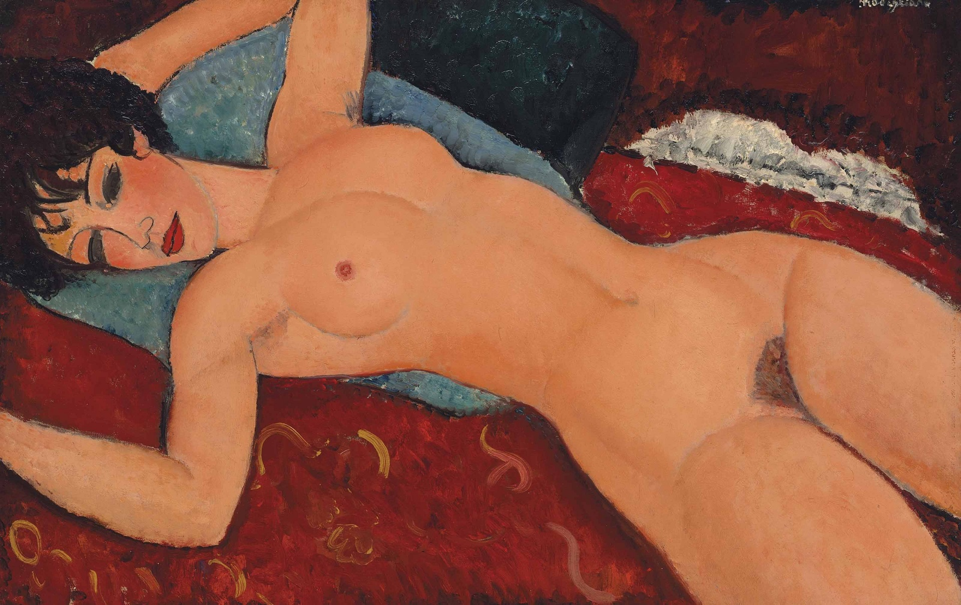 Amedeo Modigliani - Sleeping Nude with Arms Open. Red Nude 1917