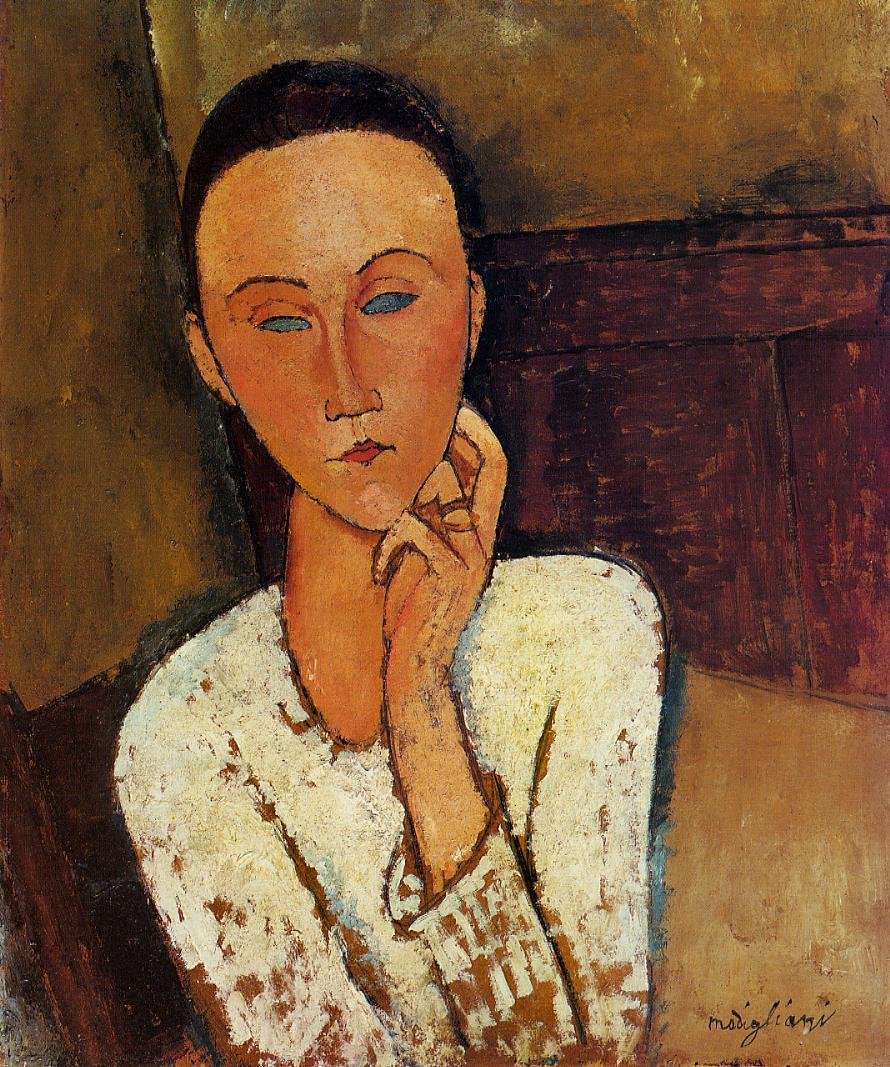 Amedeo Modigliani - Lunia Czechowska with her left hand on her cheek 1918