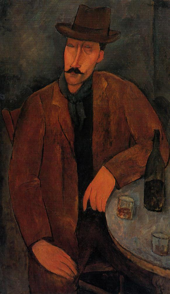 Amedeo Modigliani - Man with a Glass of Wine 1918