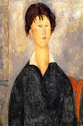 Amedeo Modigliani - Portrait of a Woman with a White Collar 1919