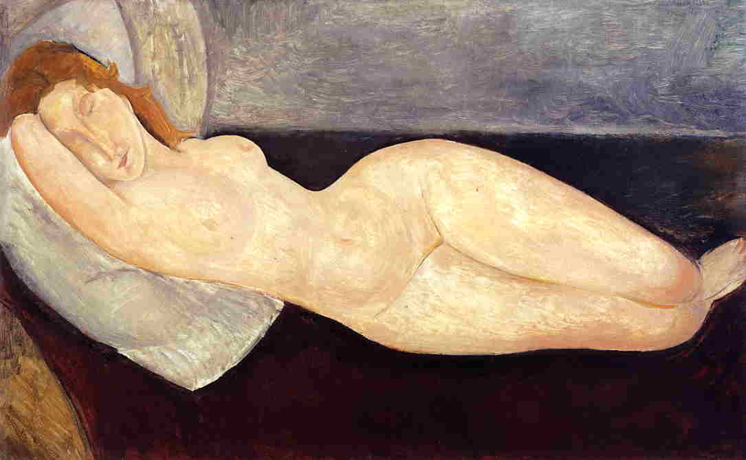 Amedeo Modigliani - Reclining nude with head resting on right arm 1919