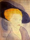 Amedeo Modigliani - Head of a Woman with a Hat 1907