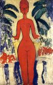 Amedeo Modigliani - Standing nude with Garden Background 1913