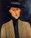 Amedeo Modigliani - Portrait of a Man with Hat. Jose Pacheco 1915