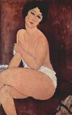 Amedeo Modigliani - Nude seating on a sofa. La Belle Romaine 1917