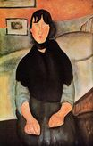 Amedeo Modigliani - Dark Young Woman Seated by a Bed 1918