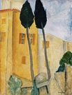 Amedeo Modigliani - Cypress Trees and House 1919