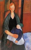 Amedeo Modigliani - Seated Woman with Child. Motherhood 1919