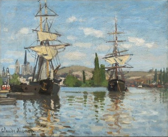 Claude Monet - Ships Riding on the Seine at Rouen 1872