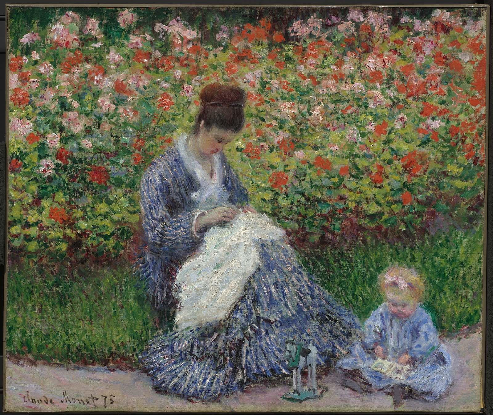 Claude Monet - Camille Monet and a Child in the Artist's Garden in Argenteuil 1875