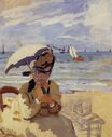 Claude Monet - Camille Sitting on the Beach at Trouville 1871