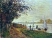 Claude Monet - The Riverbank at Petit-Gennevilliers, Sunset 1875