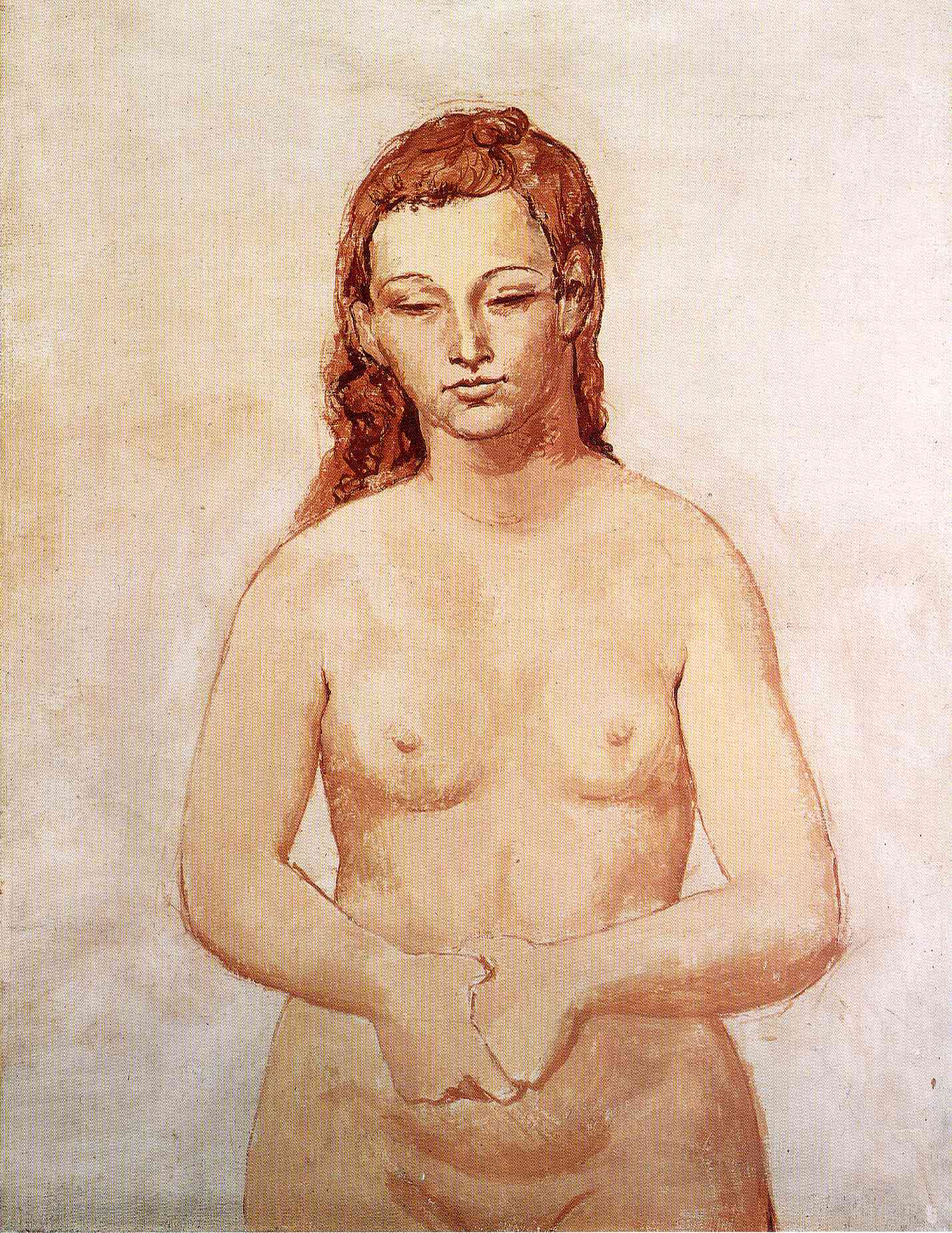 Nude with her hands pressed to each other 1906