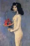 Young naked girl with flower basket 1905