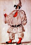 Design of costume for Pulcinella 1920