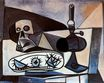 Skull, urchins and lamp on a table 1943