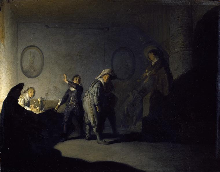 Rembrandt van Rijn - Interior with Figures Playing 'Handjeklap' 1628