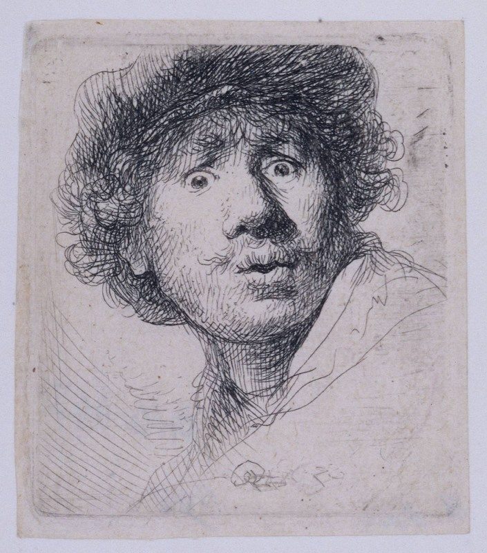 Rembrandt van Rijn - Self Portrait with a Cap, openmouthed 1630